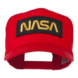 Black NASA Embroidered Patched High Profile Cap - Red