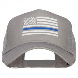 Thin Blue Line American Flag Embroidered Mesh Cap