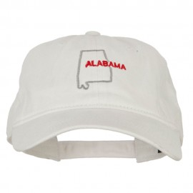 Alabama with Map Outline Embroidered Washed Cotton Twill Cap