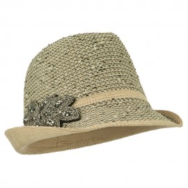 Beaded Motif Multi Colored Fedora - Beige