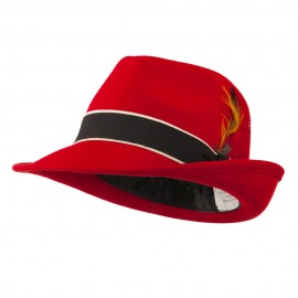 Women's Large Brim Feather Accent Felt Fedora