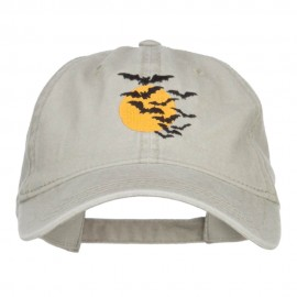 Bats and Moon Halloween Embroidered Washed Cap