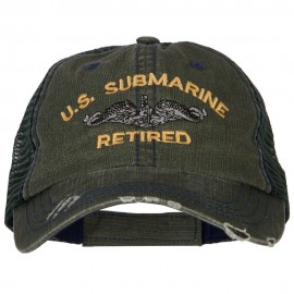 US Submarine Retired Embroidered Low Profile Cotton Mesh Cap