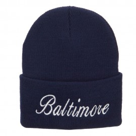 City of Baltimore Embroidered Long Beanie