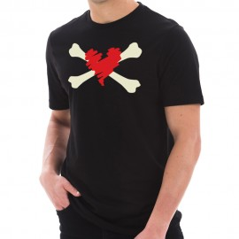 Bones and Scribbled Heart Graphic Design Short Sleeve Cotton Jersey T-Shirt