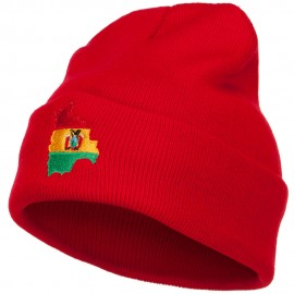Bolivia Flag Map Embroidered Long Beanie