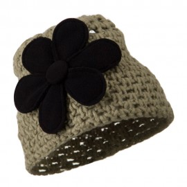 Woman's Bio Polar Fleece Flower Beanie - Taupe