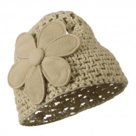 Woman's Bio Polar Fleece Flower Beanie - Beige