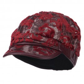 Brocade Pattern Burn Out Newsboy Cap