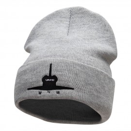 Space Shuttle Silhouette Embroidered Long Knitted Beanie