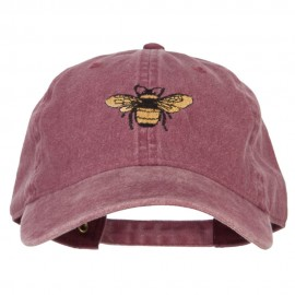 Bumblebee Embroidered Washed Buckle Cap