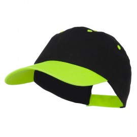 6 Panel Light Weight Two Tone Brushed Cotton Twill Cap - Black Neon Green