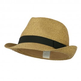 Women's Metallic and Black Ribbon Fedora