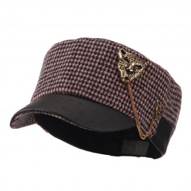 Military Cap with Animal Brooch