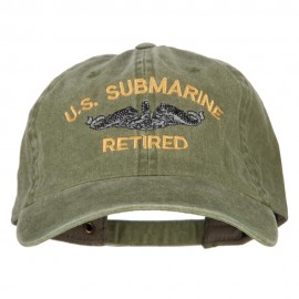 US Submarine Retired Military Embroidered Washed Cotton Twill Cap