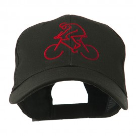 Mountain Biker Outline Embroidered Cap