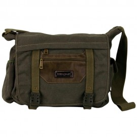 Canvas Bag with Buckle Strap - Olive