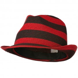Paper Braid Striped Fedora Hat - Red Black