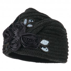 Flower Sequins Knit Turban - Charcoal