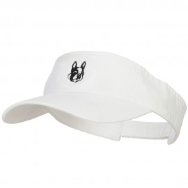 Boston Terrier Head Embroidered Pro Style Cotton Washed Visor