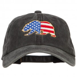 Bear USA Flag Embroidered Washed Buckle Cap