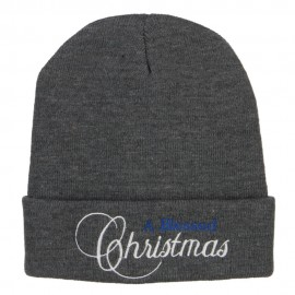 A Blessed Christmas Embroidered Long Beanie