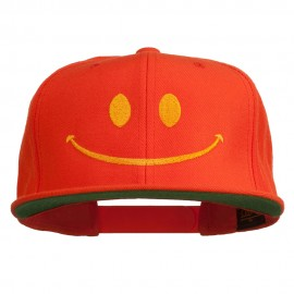 Big Smiley Face Embroidered Flat Bill Cap