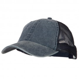 Big Size Washed Pigment Dyed Twill Trucker Cap - Navy Navy