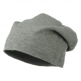 Big Size Knit Slouch Beanie - Heather Grey