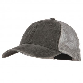 Big Size Washed Pigment Dyed Twill Trucker Cap - Black Grey