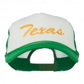 Big Size Mid State Texas Embroidered Foam Mesh Cap - White Kelly