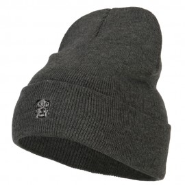 Bulldog Head Embroidered Long Knitted Beanie