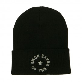 Home of the Brave Embroidered Long Beanie
