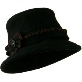 Cloche Wool Felt Floral Button Hat - Black