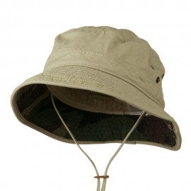 Big Size Camouflaged Brim Cotton Washed Bucket Hat - Khaki