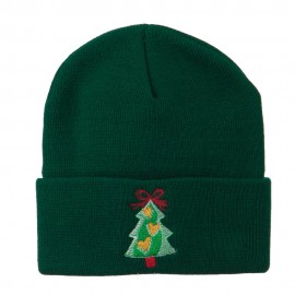 Christmas Tree Hearts Bow Embroidered Beanie - Green