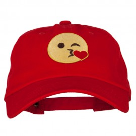 Blow Kiss Emoji Patched Unstructured Washed Cap