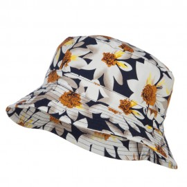 Reversible Daisy Print Bucket Hat - Navy