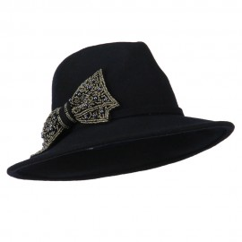 Wool Felt Fedora with Beaded Bow