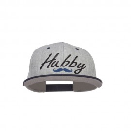 Hubby Mustache Embroidered Flat Bill Snapback