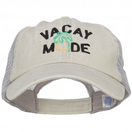 Vacay Mode Embroidered Washed Twill Trucker Cap