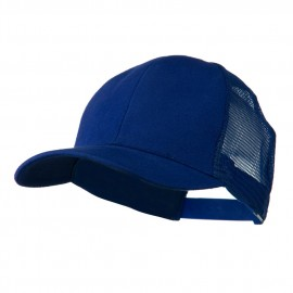 Cotton Brush Mesh Trucker Cap - Royal