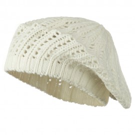 Crocheted Knit Beret - White