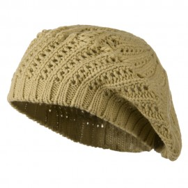Crocheted Knit Beret - Tan