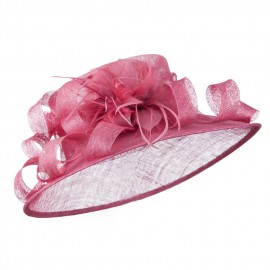 Curl Bow Feather Sinamay Hat