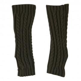 Women's Cable Knitted Arm Warmer - Taupe