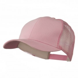 Cotton Brush Mesh Trucker Cap - Pink