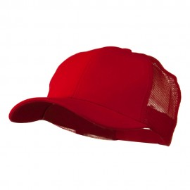 Cotton Brush Mesh Trucker Cap - Red