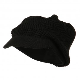 Crown Plain Beanie Visor-Black