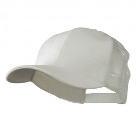 Cotton Brush Mesh Trucker Cap - White